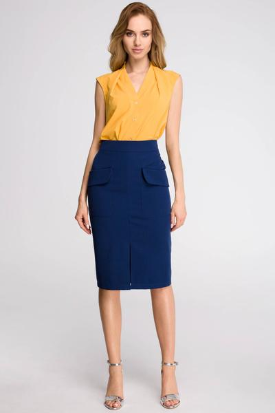 Navy Blue Pencil Skirt With Front Flap Pockets u2013 So Chic Boutique