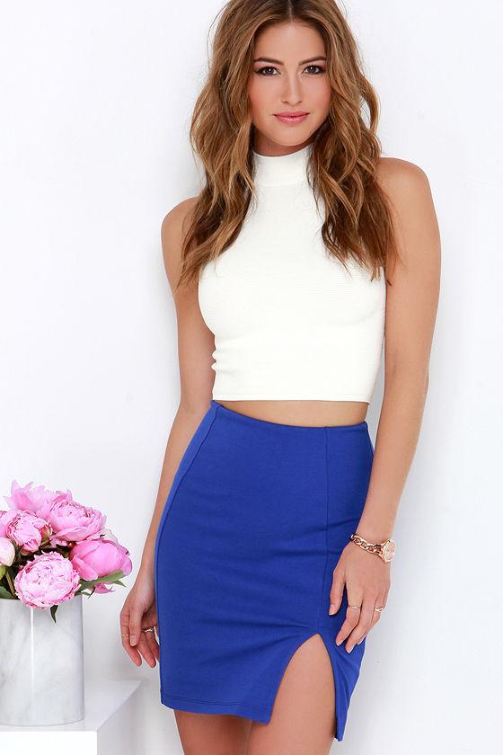 Royal Blue Skirt - Pencil Skirt - High-Waisted Skirt - $31.00
