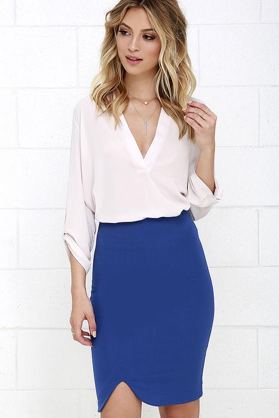 Chic Royal Blue Skirt - Bodycon Skirt - Pencil Skirt - $34.00