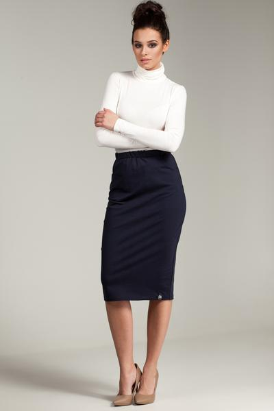 Navy Blue Pencil Skirt With Elasticized Waist And Side Pockets u2013 So