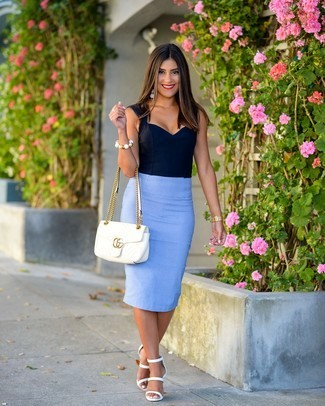 How to Wear a Light Blue Pencil Skirt (25 looks & outfits) | Women's