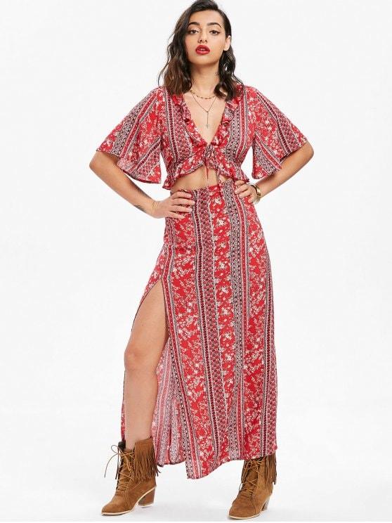 59% OFF] 2019 Cutout Bohemian Maxi Dress In RED XL | ZAFUL