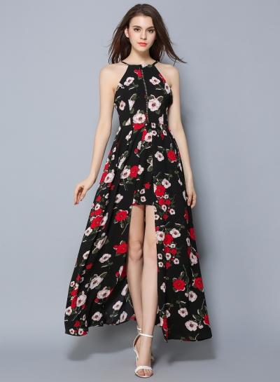 Sleeveless Floral Printed High Slit Bohemian Maxi Dress - OASAP.com
