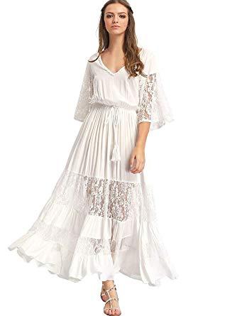Milumia Women's Bohemian Drawstring Waist Lace Splicing White Long
