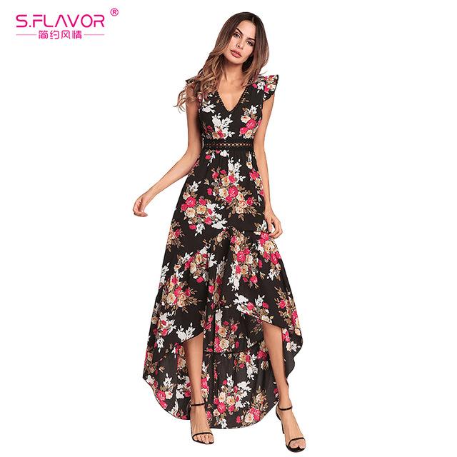 S.FLAVOR Women printing dress floral print V neck Irregular Bohemian