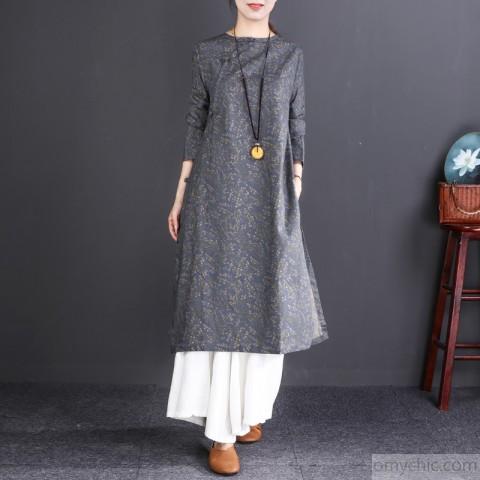 boutique gray print long cotton dress oversize O neck gown boutique
