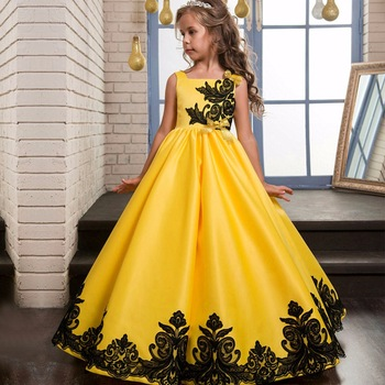Design Of Evening Long Gowns For Kids India Boutique Wholesale Satin