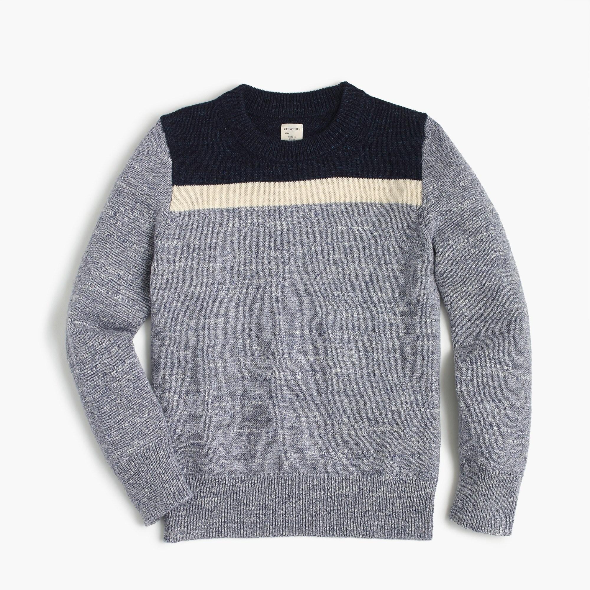 Boys' Colorblocked Cotton Crewneck Sweater - Boys' Sweaters   J.Crew