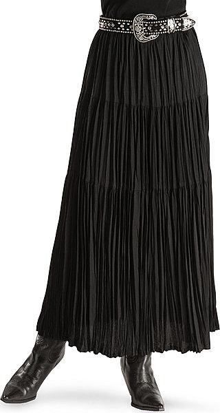 Cattlelac Broomstick Skirt - Black - Ladies' Western Skirts and