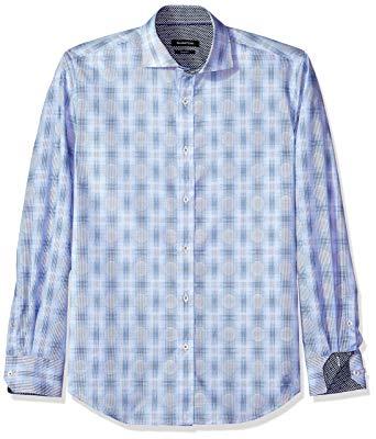 Bugatchi Men's Slim Fit Patterned Jacquard Spread Collar Shirt at