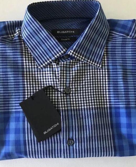 BUGATCHI Uomo Classic Fit Casual Shirt Mens M Blue Plaid Contrast