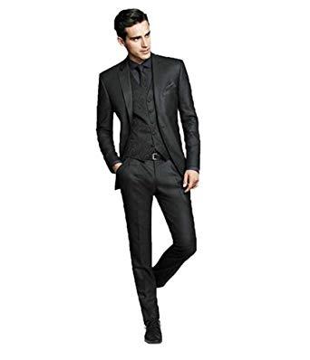 Botong Dark Grey Wedding Suits for Men 3 Pieces Business Men Suits