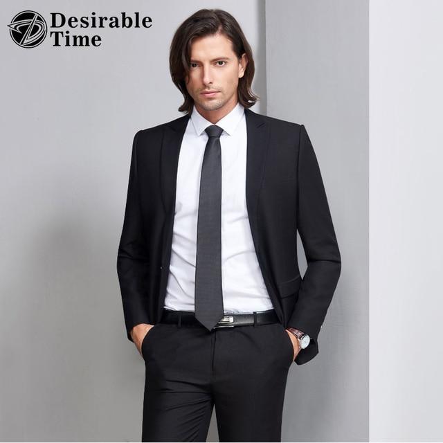 Desirable Time Slim Fit Black Suit Men Tuxedos S 3XL Costume Homme