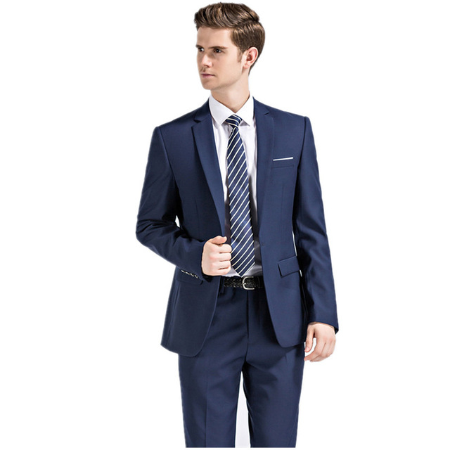 2017 Men wedding navy blue suits blazer business Dress suits