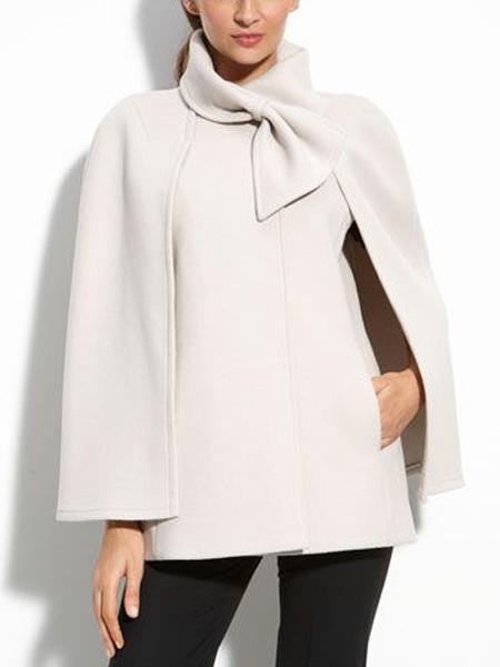 Women White Cape Coat Wool Blend Bowknot Black Office Jacket