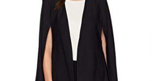 Amazon.com: Lyssé Women's Stretch Crepe Cape Jacket, Black, S: Clothing