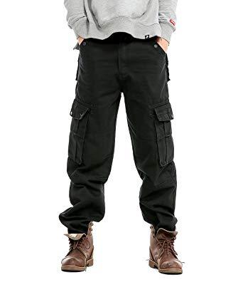 Idopy Men`s Loose Fit Motorcycle Multi-Pockets Workwear Denim Cargo