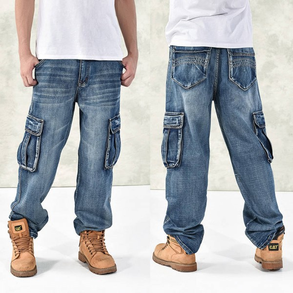 Baggy Hip Hop Jeans Multi Pockets Skateboard Cargo Pants Tactical