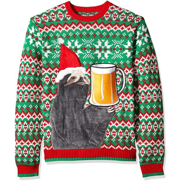 Men's Sloth Beer Pocket Ugly Christmas Sweater | American AF - AAF