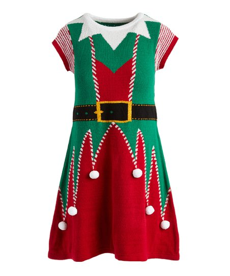 Ugly Christmas Sweater Green & Red Christmas Fitted Sweater Dress