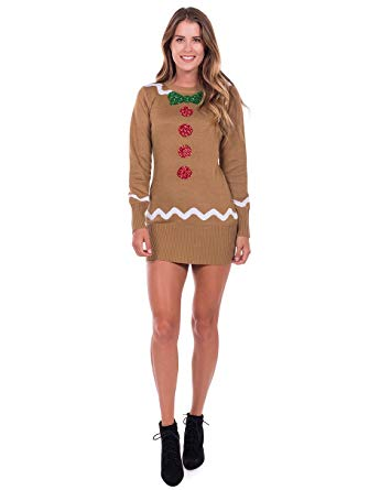 Amazon.com: Tipsy Elves Women's Gingerbread Sweater Dress - Brown
