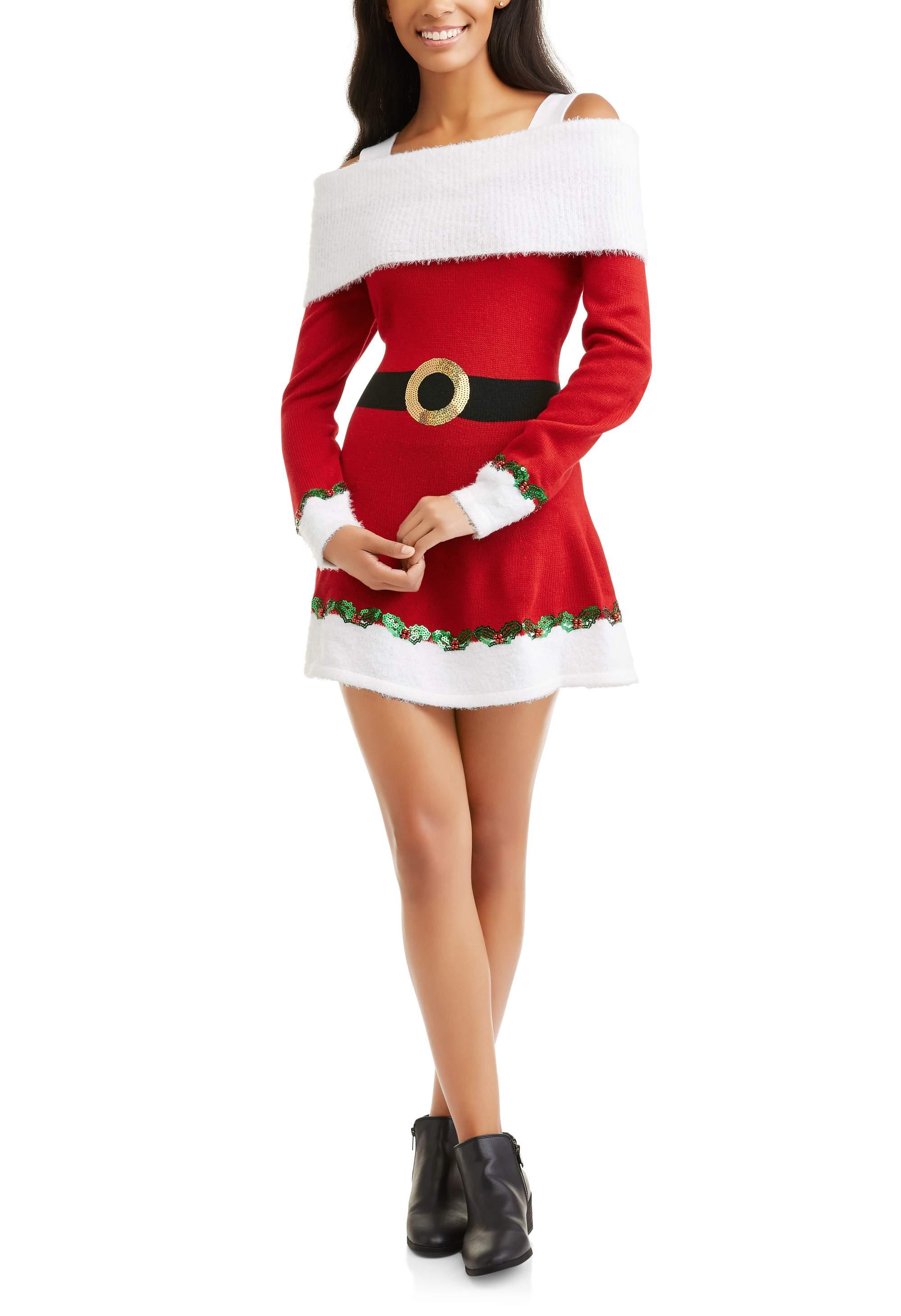Holiday Time - Women's Ugly Christmas Sweater Dress - Walmart.com
