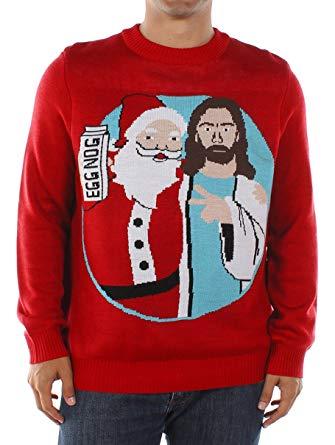 Amazon.com: Men's Santa and Jesus Jingle Bros Christmas Sweater