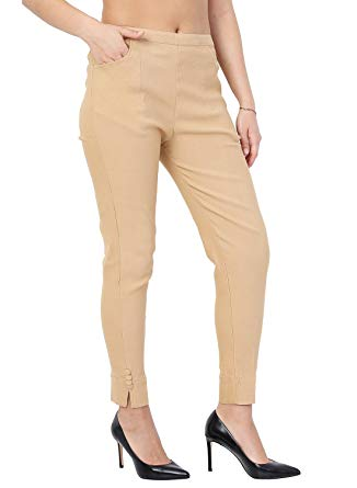 Facio Women's Cotton and Lycra Strechable Slim Fit Straight