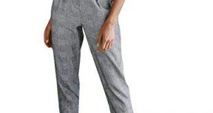 Amazon.com: Women's Cigarette Trousers,Button High Waist Stripe