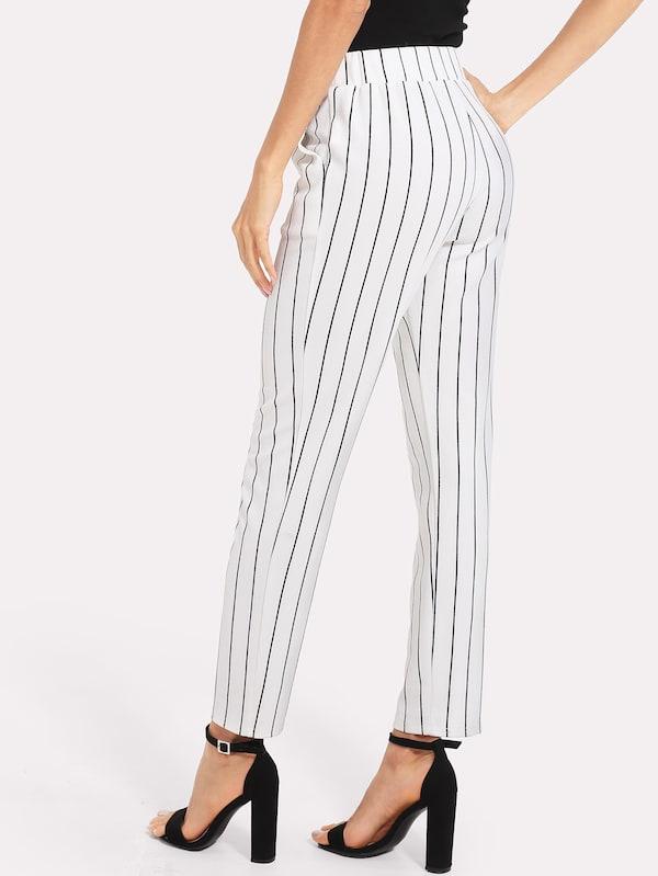 Elastic Waist Pinstripe Cigarette Pants | SHEIN