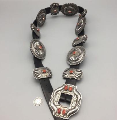 Vintage Coral & Sterling Silver Concho Belt u2014 Western Trading Post