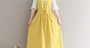 Summer Dress 2017 New Women Spaghetti Strap Drawstring Long Cotton