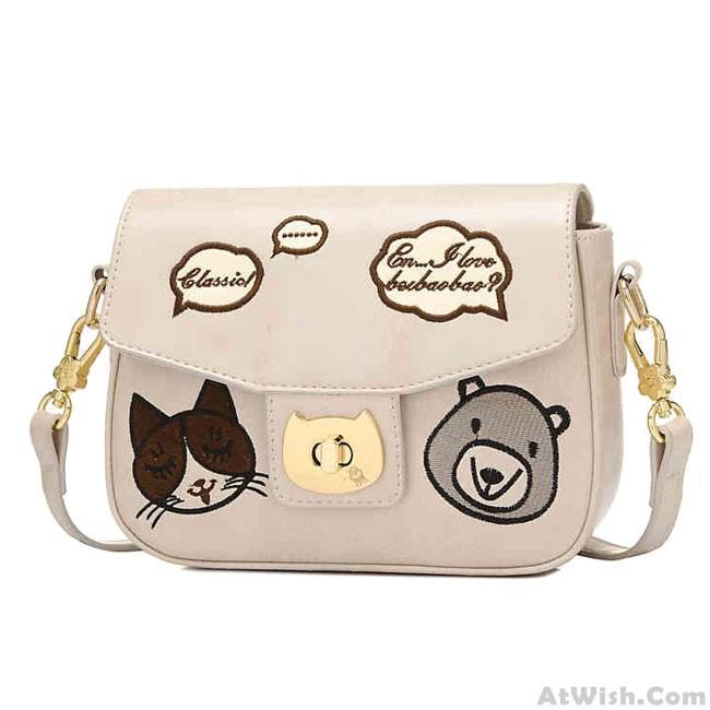 Cartoon Bear Crossbody Bag Cute Kitten Face Shoulder Bag   Shoulder