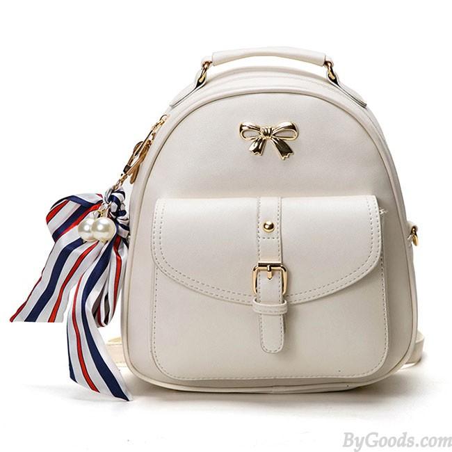 Cute Bow College Multifunction Lady's Bag Front Belt Handbag Metal