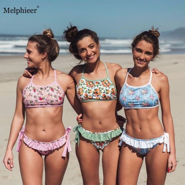 Beach Ruffle Bikini 2018 Bikinis Women Cute Swimwear Swimsuit Push