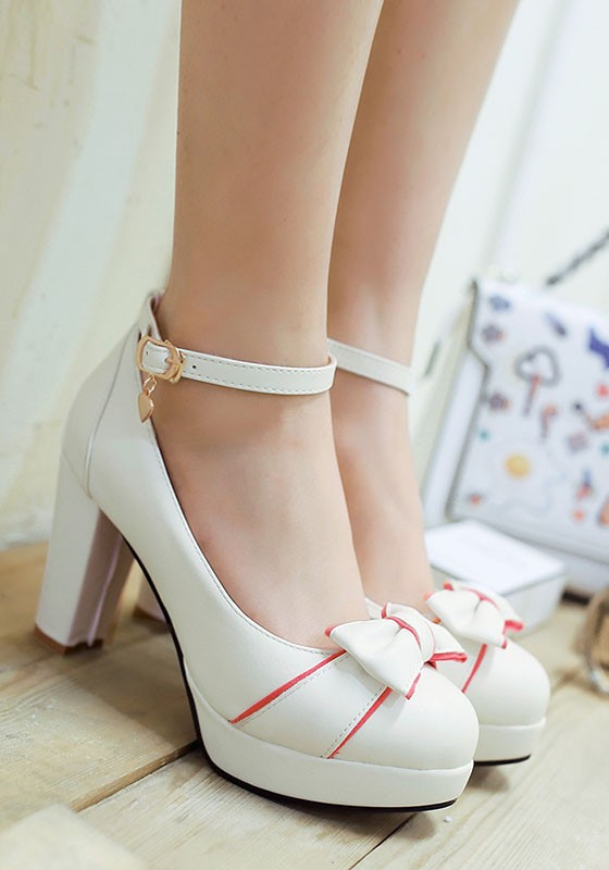 White Round Toe Chunky Bow Cute High-Heeled Shoes - Pumps/Heels - Shoes
