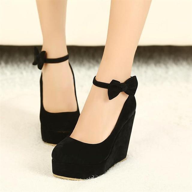 Female Shoe Vogue Black Bow Wedges High Heels Women Cute Buckle