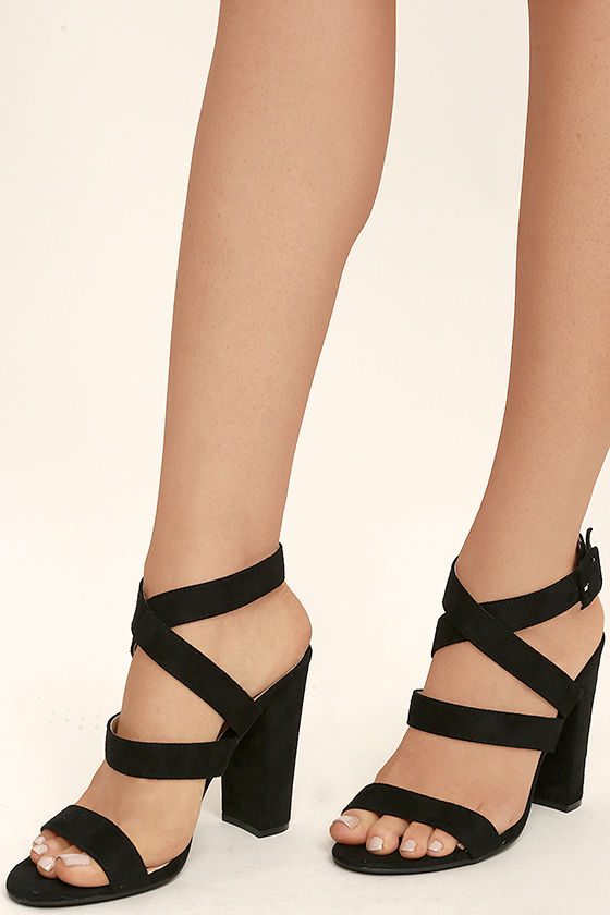 Cute Black Heels - Ankle Strap Heels - Vegan Suede Heels - $33.00