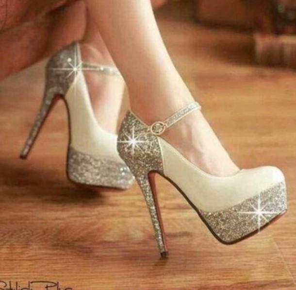 shoes, beautiful, glitter, glitter shoes, prom shoes, cute high