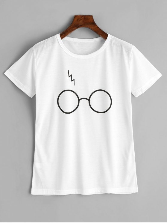 2019 Cute Glasses Graphic T Shirt In WHITE S   ZAFUL