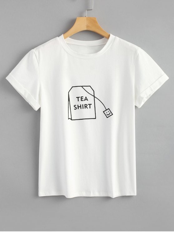 30% OFF] 2019 Tabs Graphic Cute T Shirt In WHITE S   ZAFUL