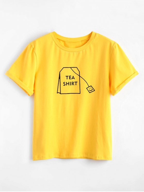 30% OFF] 2019 Tabs Graphic Cute T Shirt In BRIGHT YELLOW L   ZAFUL