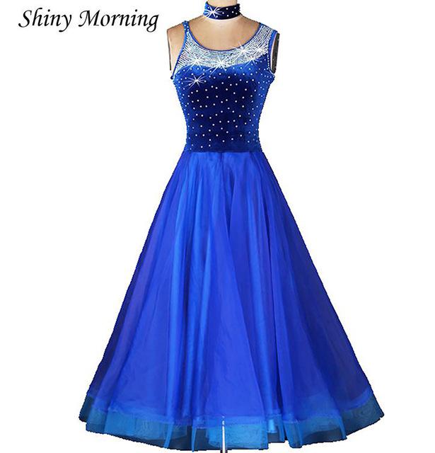 Ballroom dance costume senior diamond tango foxtrot dance dress for
