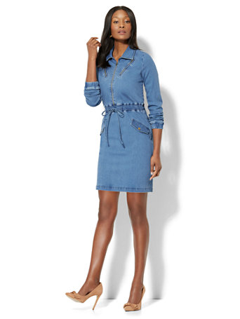 NY&C: Zip-Accent Drawstring Denim Dress - Soft Blue