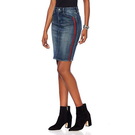 Skinnygirl Tuxedo Stripe Denim Pencil Skirt - 8845569 | HSN