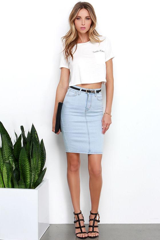 Light Blue Denim Skirt - Pencil Skirt - High-waisted Skirt - $49.00