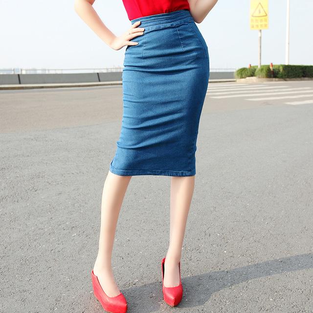 Denim Pencil Skirt Bodycon High Waist Slit Knee Length Elastic jeans