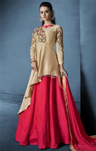 Buy Beautified Customized Cream N Red Designer Dress Fabric For Bottom
