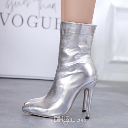 Hot Shinning Silver Black High Heel Wedding Boots Women Designer