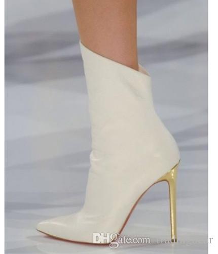 Elegant White Pointed High Heels Wedding Boots Women Designer Shoes